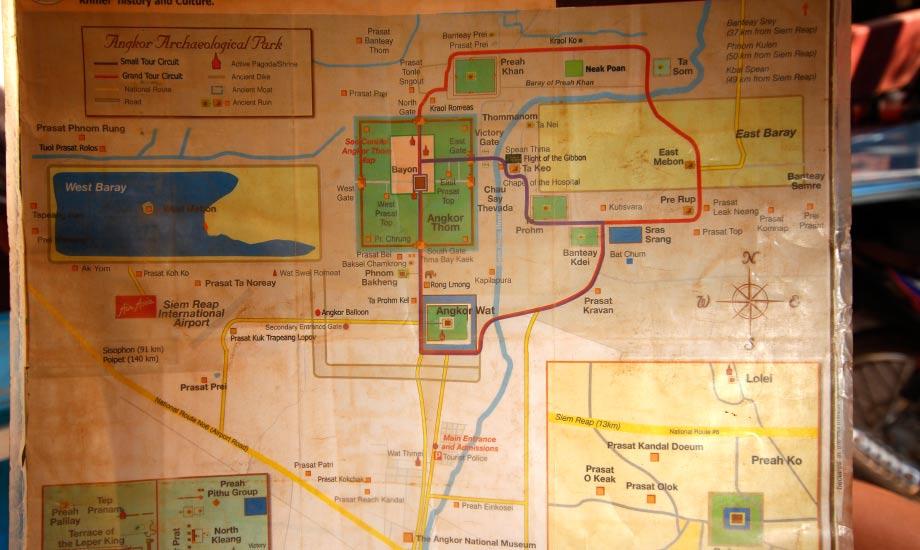 Oversiktskartet over turene i Siem reap